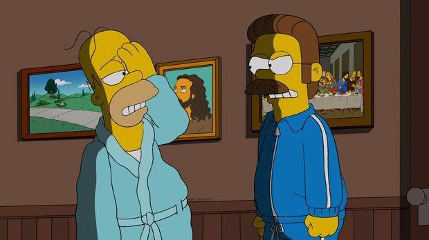 Homer (l.) lädt sich selbst zum Frühstück bei Ned Flanders (r.) ein und fängt...
