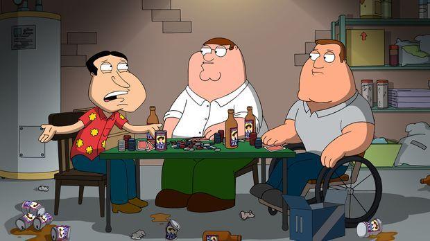 Eigentlich wollten Peter (M.), Joe (r.) und Quagmire (l.) zum Angeln gehen, a...