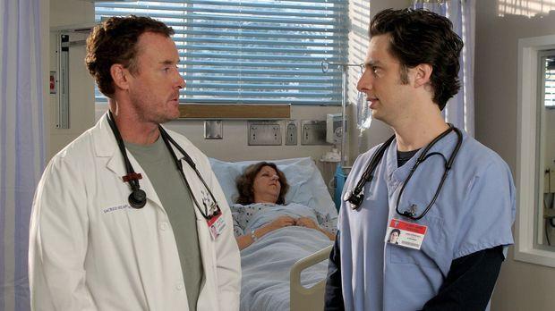 Während Dr. Cox (John C. McGinley, l.) besuch von seiner gläubigen Schwester...