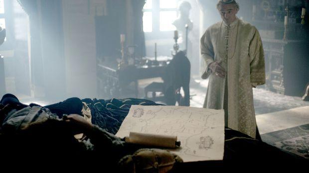 Papst Alexander (Jeremy Irons, r.) befiehlt Cesare (Francois Arnaud, l.), die...