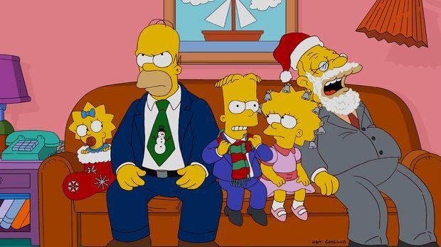 Ein ganz besonderes Weihnachtsfest: (v.l.n.r.) Maggie, Homer, Bart, Lisa und...