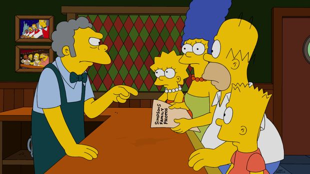 Die Entdeckung, die Homer (2.v.r.) in seiner Jackentasche macht, kann nur Moe...