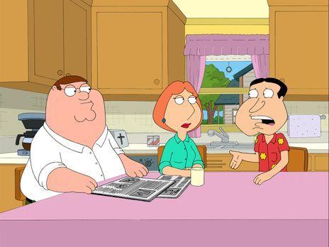 Family Guy - Quagmire (r.) erzählt Lois (M.) und Peter (l.) ganz aufgeregt, d...