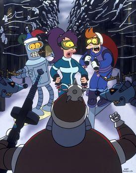 Futurama - Auf der Weihnachtsfeier der Futurama-Mannschaft werden (v.l.n.r.)...