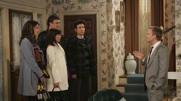 Ted (Josh Radnor, 2.v.r.), Marshall (Jason Segel, 2.v.l.), Lily (Alyson Hanni...
