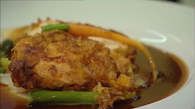 Crispy Cola-Chicken auf Chili-Spargel-Gemüse und Cola-Jus
