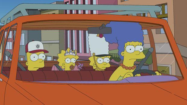 Da Marge (r.) ihre Kinder Bart (l.), Maggie (M.) und Lisa (2.v.r.) superschne...