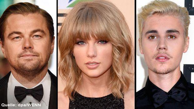 Collage mit Leonardo DiCaprio, Taylor Swift und Justin Bieber