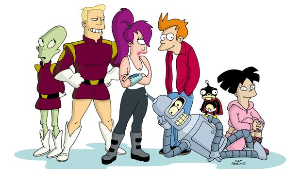 (4. Staffel) - Futurama - New York und die Welt im Jahr 3000: (v.l.n.r.) Kiff...