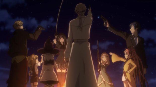 Rentaro (r.) versammelt seine Leute um sich und schwört sie auf den gemeinsam...