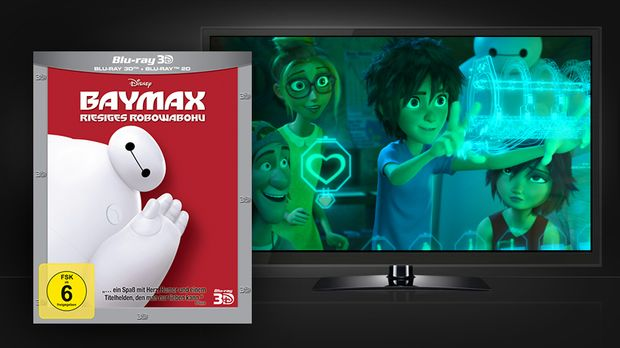Baymax 3D: Blu-ray und Szenenbild © Walt Disney Studios Home Entertainment