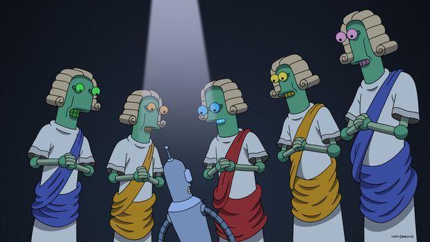 Futurama - Bender (3.v.l.) steht wegen eines Verbrechens vor Gericht. Sein An...