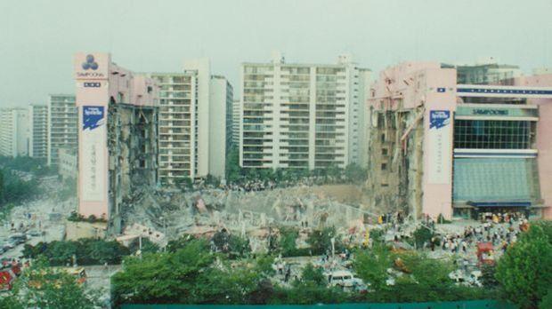 Das Sampoong-Gebäude nach dem Einsturz.