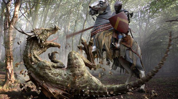 Im Kampf gegen einen Dracorex, einem drachenähnlichen Saurier: Ritter Sir Wil...