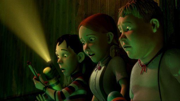 Die Kinder D.J. (l.), Jenny (M.) und Chowder (r.) entdecken, dass das gruseli...