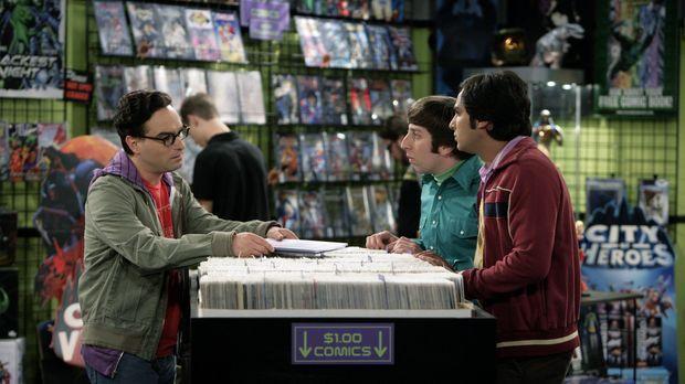 Als Leonard (Johnny Galecki, l.) im Comicbuchladen auftaucht, sind Sheldon, R...