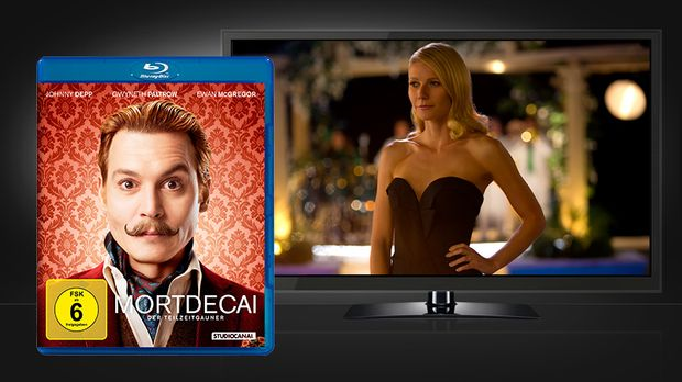 Mortdecai - Szenenbild und Blu-ray Cover © Studiocanal