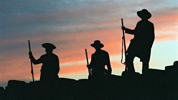 Das ehemals zu Mexiko gehörende Missionsdorf Alamo, nun als notdürftige Festu...