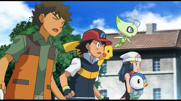 Rocko (l.), Ash (2.v.l.), Pikachu (3.v.l.), Lucia (2.v.r.) und Plinfa (r.) ma...