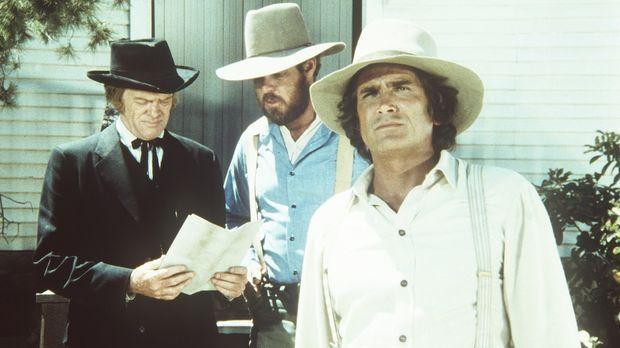 (v.l.n.r.) Dr. Baker (Kevin Hagen, l.), Jonathan Garvey (Merlin Olsen, M.) un...